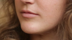 Close-up portrait of young woman - stock footage