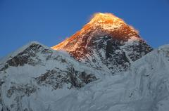 Everest Peak Sunset  Blue Sky Stock Photos