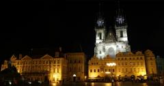 UHD 4K Tyn Cathedral Goltz Kinsky Palace Prague Square Night Light Stock Footage