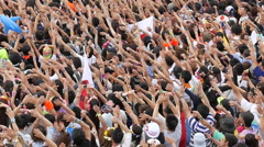 Zoom Out of Large Crowd at Electronic Music Festival Tokyo Japan Stock Footage