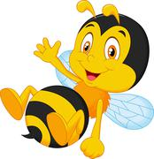 Cute little bee cartoon waving hand Stock Illustration