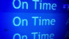 On Time Departure Board Detail Stock Footage