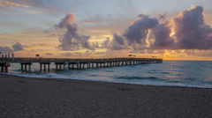 Lake Worth Pier Sunrise Beach Palm Beach County Florida Timelapse Stock Footage