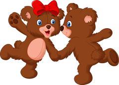 Cute bear couple cartoon dancing Stock Illustration