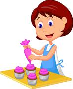 Cartoon woman with apron decorating cupcakes - stock illustration