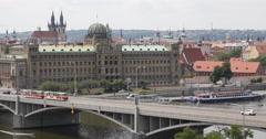 UHD 4K Prague Skyline Aerial View Tyn Cathedral Busy Street Bridge Car Traffic Stock Footage