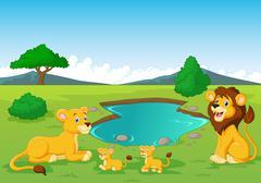 Cartoon lion family near watering hole Stock Illustration
