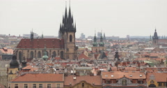 UHD 4K Spectacular Aerial View Prague Skyline Old Town Cityscape Tyn Cathedral Stock Footage