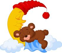 The teddy bear cartoon sleep on the moon Stock Illustration