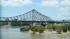 Traffic time lapse over Story bridge zoom 4K Stock Footage