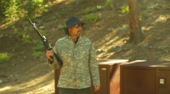 survivalist guy on gaurd 2 - stock footage