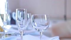 Three wine glasses on  table Stock Footage
