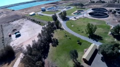 Waste Water Treatment Aerial 2 Stock Footage