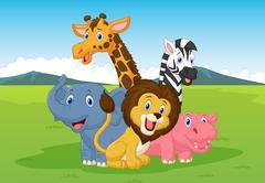 Happy cartoon safari animal Piirros