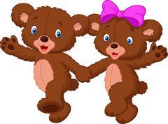 Happy bear cartoon couple - stock illustration