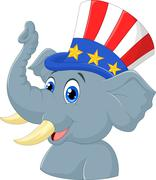 Republican Elephant Cartoon Character - stock illustration
