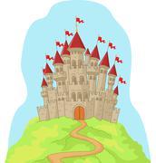 Beautiful cartoon castle on the hill - stock illustration