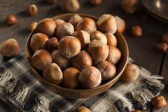 raw organic whole hazelnuts - stock photo