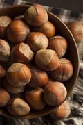 raw organic whole hazelnuts - stock photo