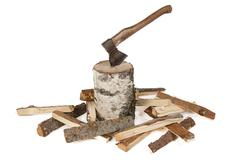 Image of axe in the stump and woods - stock photo