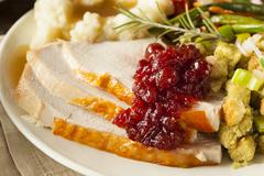 homemade thanksgiving turkey on a plate - stock photo