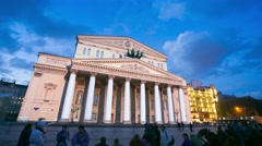 4k timelapse view of the Bolshoy theatre at night Stock Footage