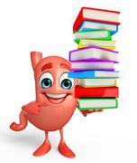 Cartoon character of stomach with pile of books Piirros