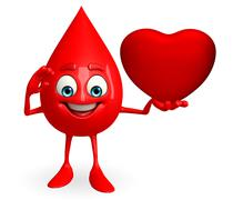 Blood drop character with heart Stock Illustration