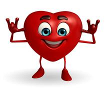 heart shape character with teasing pose - stock illustration