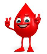 Blood drop character with victory sign Stock Illustration