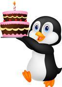 Cute penguin cartoon holding birthday cake Stock Illustration