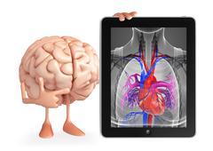 Brain character with heart anatomy Stock Illustration