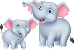Cartoon Mother and baby elephant Stock Illustration