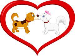 Cute cartoon dog kissing each other Piirros