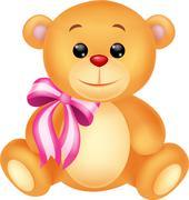 Cute bear cartoon sitting - stock illustration