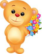 Bear cartoon with flowers Stock Illustration