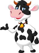 Cute cow cartoon presenting Stock Illustration