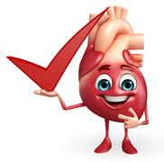 Heart character with right sign Stock Illustration