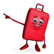 travelling bag chatacter is pointing - stock illustration