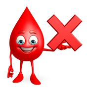 blood drop character with cross sign - stock illustration