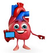 heart character with mobile - stock illustration