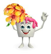 ice cream character with flower - stock illustration