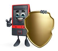 Stock Illustration of computer cabinet character with shield
