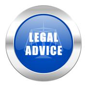 legal advice blue circle chrome web icon isolated. - stock illustration