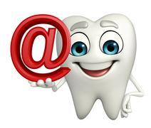 Stock Illustration of teeth character with at the rate sign