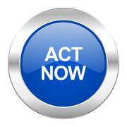 act now blue circle chrome web icon isolated. - stock illustration