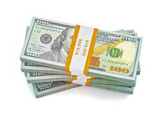 Stack of new 100 US dollars banknotes - stock illustration