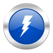 bolt blue circle chrome web icon isolated. - stock illustration