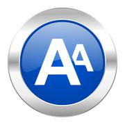 alphabet blue circle chrome web icon isolated. - stock illustration