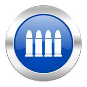 Ammunition blue circle chrome web icon isolated. Stock Illustration